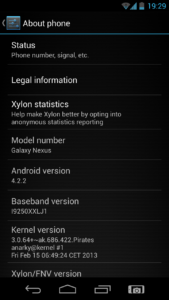 Android Version and device model