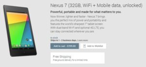 Nexus 7 4G LTE for £299 with Limited Time Free Delivery