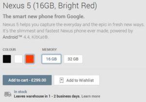 Nexus 5 Bright Red info - Google Play Store