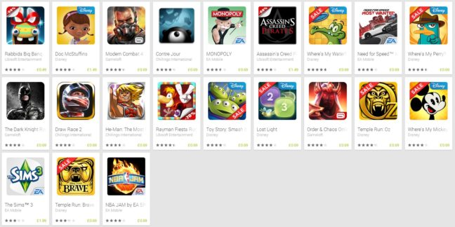 Play Store Spring Games Sale - List
