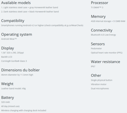 Moto 360 Technical Specification