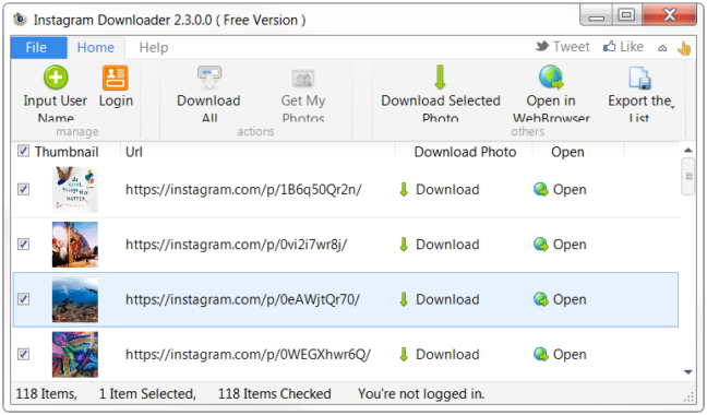 Instagram Downloader software screenshot
