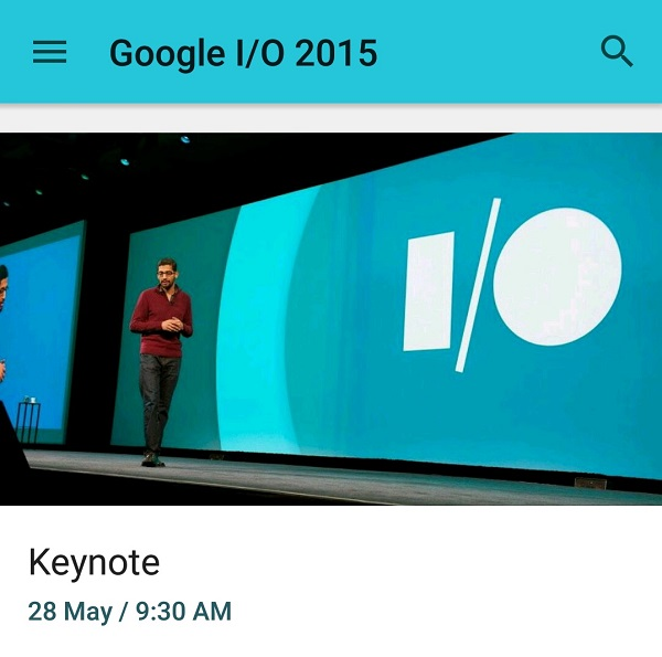 Google IO 2015 Android App Screenshot