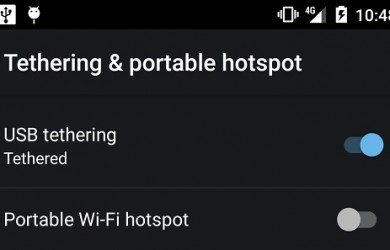 USB Tethering option on Android
