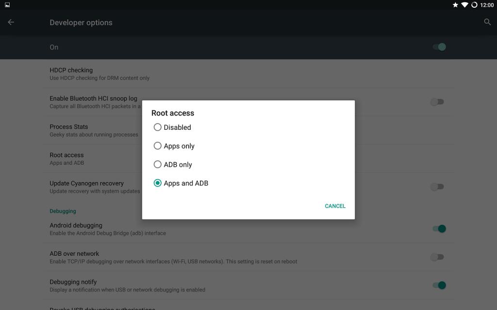 Acceso root en no oficial CM-12.0 ROM para Galaxy Tab Pro 12.2