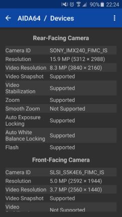 AIDA64 displaying camera sensor information