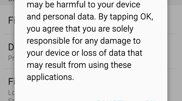 Enabling Unknown Sources Warning on Android