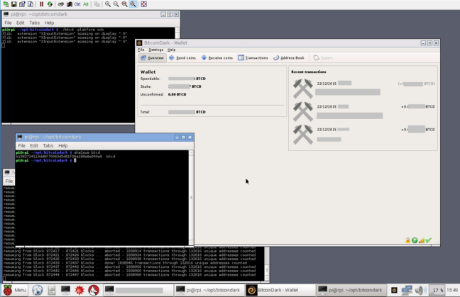 BTCD Wallet Running Inside a Raspberry Pi 2 and a Terminal Window Showing the SHA1 Hash