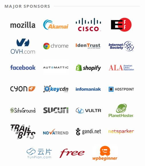 Major Sponsors for Let's Encrypt