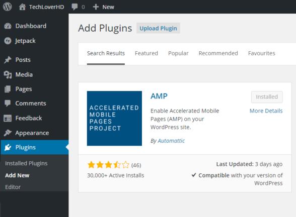 AMP Plugin in WordPress Dashboard