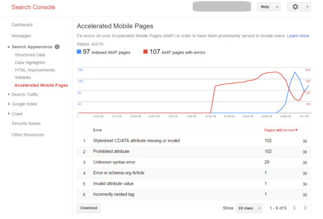 AMP Reporting in Google Search Console