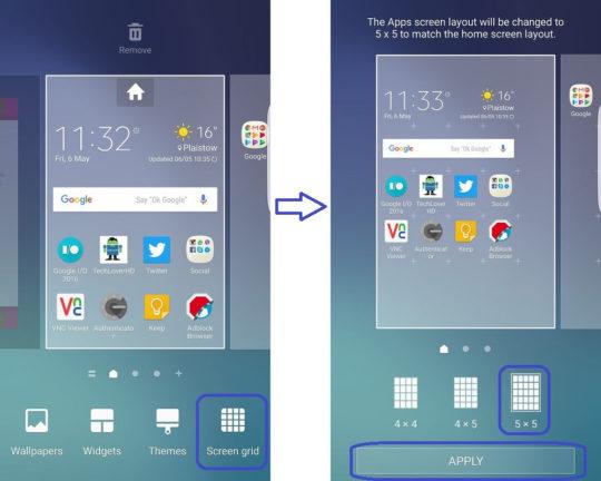 Resizing Screen Gid on Galaxy S6 Edge